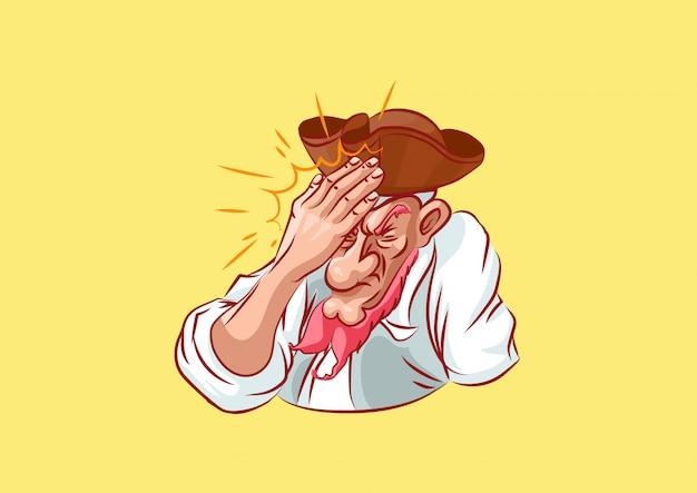 Personaggio dei cartoni animati cappello da pirata orecchino rapinatore di mare filibuster hacker delinquente signori fortuna cartone animato emoji adesivo capitano mascotte facepalm omg elemento di design