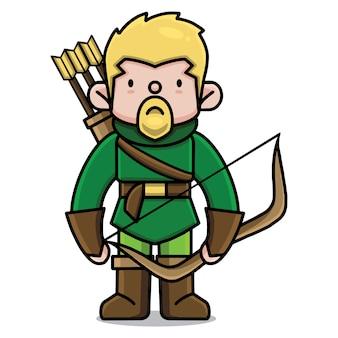 Personaggio dei cartoni animati carino arciere