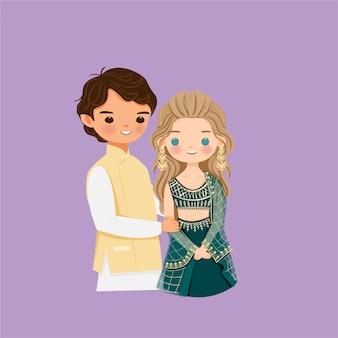 Personaggio dei cartoni animati carino coppia indiana