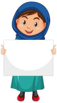 Personaggio dei cartoni animati carino giovane ragazza che tiene bandiera in bianco