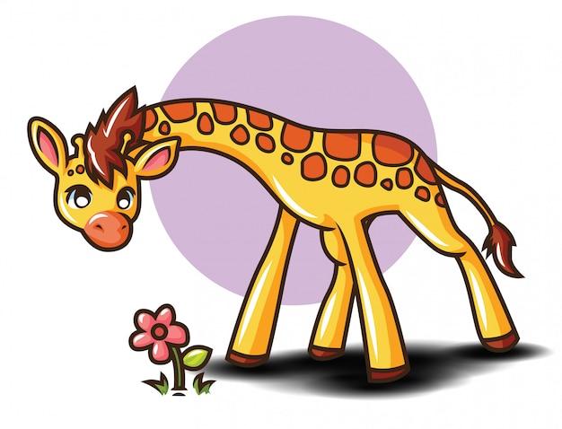 Personaggio dei cartoni animati carino giraffa. concetto di cartone animato animale.