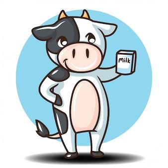 Personaggio dei cartoni animati carino mucca. concetto di cartone animato animale.