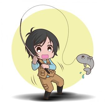 Personaggio dei cartoni animati carino pescatore