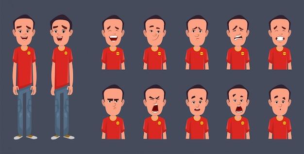 Personaggio dei cartoni animati con diversa espressione facciale
