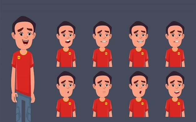 Personaggio dei cartoni animati con diverse emozioni ed espressioni