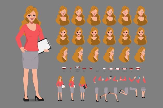 Personaggio dei cartoni animati con donna d'affari in abbigliamento casual per l'animazione. carattere frontale, laterale, comportamentale. parti separate del corpo. illustrazione piatta.