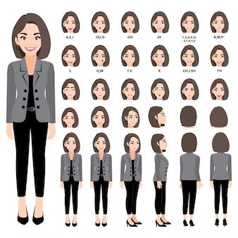 Personaggio dei cartoni animati con donna d'affari in tuta per l'animazione. anteriore, laterale, posteriore, 3-4 caratteri di visualizzazione. parti separate del corpo. 330