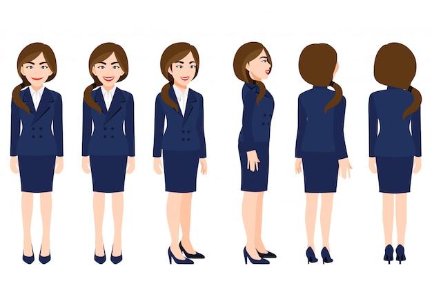Personaggio dei cartoni animati con donna d'affari in tuta per l'animazione. anteriore, laterale, posteriore, 3-4 caratteri di visualizzazione.