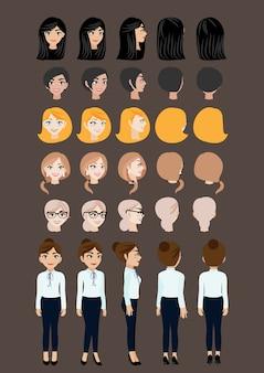 Personaggio dei cartoni animati con donna d'affari per l'animazione.