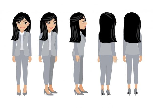 Personaggio dei cartoni animati con donna d'affari.