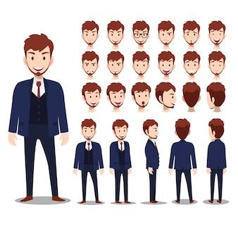 Personaggio dei cartoni animati con l'uomo d'affari in tuta per l'animazione