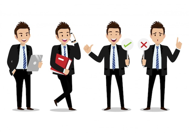 Personaggio dei cartoni animati con la progettazione di vettore del carattere di lavoro dell'uomo d'affari