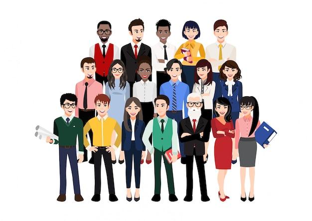 Personaggio dei cartoni animati con la squadra moderna di affari. illustrazione di diversi uomini d'affari e membri dell'azienda, in piedi uno dietro l'altro. isolato su bianco
