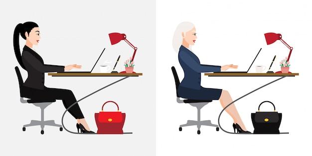 Personaggio dei cartoni animati con lo scrittorio della gente di affari su fondo bianco, illustrazione