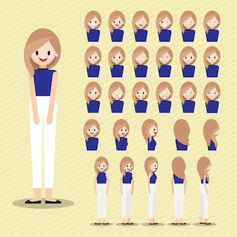Personaggio dei cartoni animati con set testa ragazza.