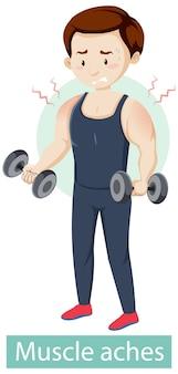 Personaggio dei cartoni animati con sintomi di dolori muscolari
