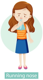Personaggio dei cartoni animati con sintomi di naso che cola