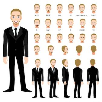 Personaggio dei cartoni animati con un uomo d'affari in tuta per l'animazione. anteriore, laterale, posteriore, diversi caratteri di visualizzazione. parti separate del corpo. illustrazione vettoriale piatta