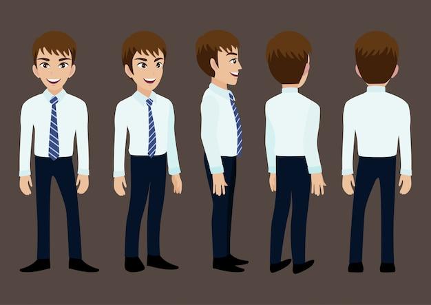 Personaggio dei cartoni animati con un uomo d'affari in tuta per l'animazione.