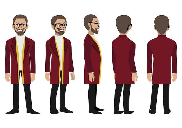 Personaggio dei cartoni animati con un uomo d'affari in un lungo cappotto per l'animazione.