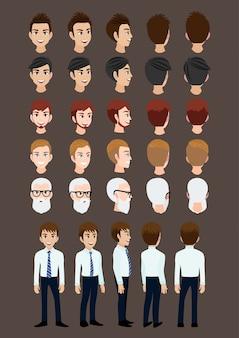 Personaggio dei cartoni animati con un uomo d'affari per l'animazione.