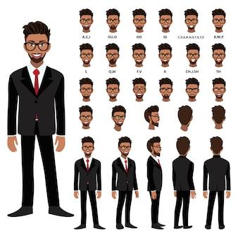 Personaggio dei cartoni animati con uomo d'affari americano africano in tuta per l'animazione. anteriore, laterale, posteriore, diversi caratteri di visualizzazione. parti separate del corpo. illustrazione vettoriale piatta