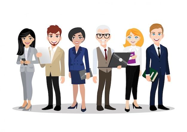 Personaggio dei cartoni animati con uomo d'affari e donna d'affari, lavoro di squadra. piatto .