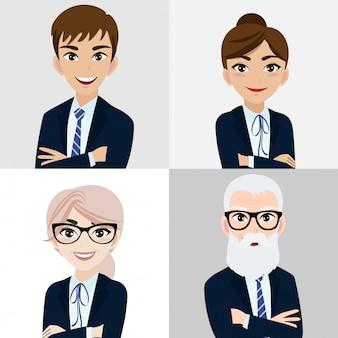 Personaggio dei cartoni animati con uomo d'affari e donna d'affari