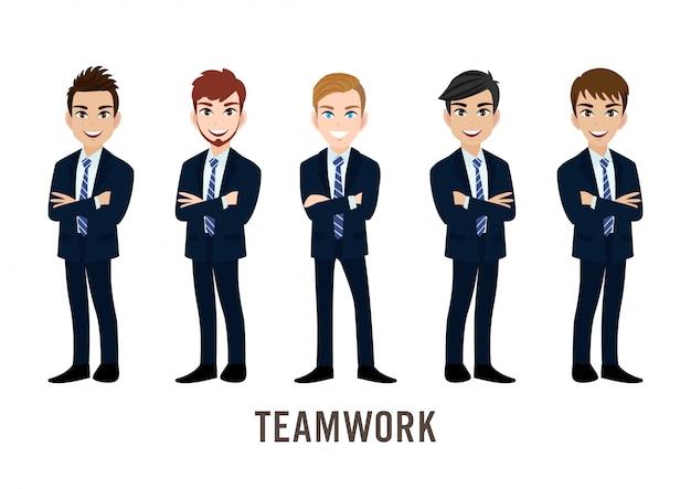 Personaggio dei cartoni animati con uomo d'affari