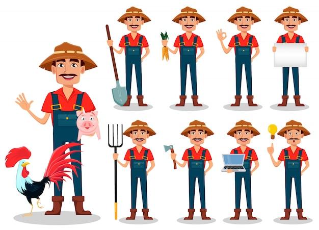 Personaggio dei cartoni animati contadino, impostare