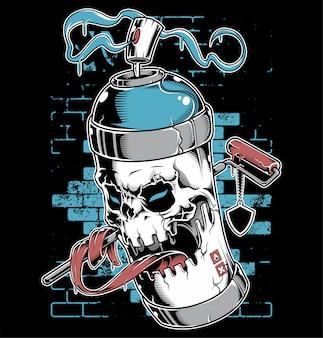 Personaggio dei cartoni animati dei graffiti del fronte del cranio della pittura di spruzzo
