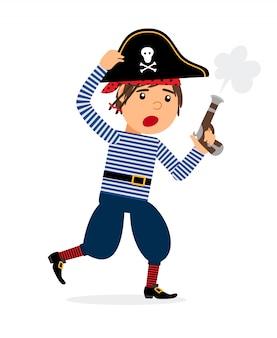 Personaggio dei cartoni animati dei pirati con la pistola in esecuzione. icona di vettore su sfondo bianco