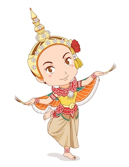 Personaggio dei cartoni animati del ballerino tradizionale tailandese in abito kinnari.