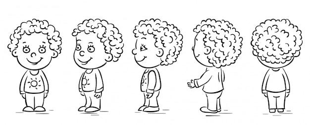 Personaggio dei cartoni animati del bambino si gira