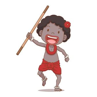 Personaggio dei cartoni animati del bastone della tenuta del ragazzo di sakai, gruppo etnico di tailandia.