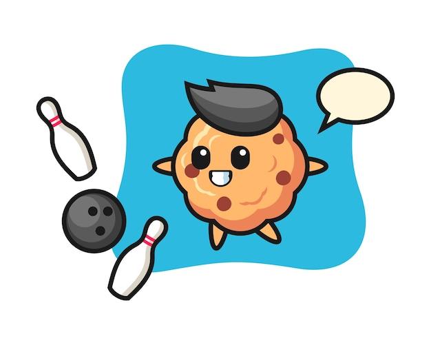 Personaggio dei cartoni animati del biscotto con gocce di cioccolato sta giocando a bowling
