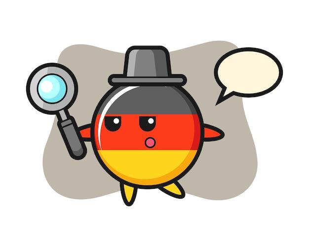 Personaggio dei cartoni animati del distintivo della bandiera della germania che cerca con una lente di ingrandimento