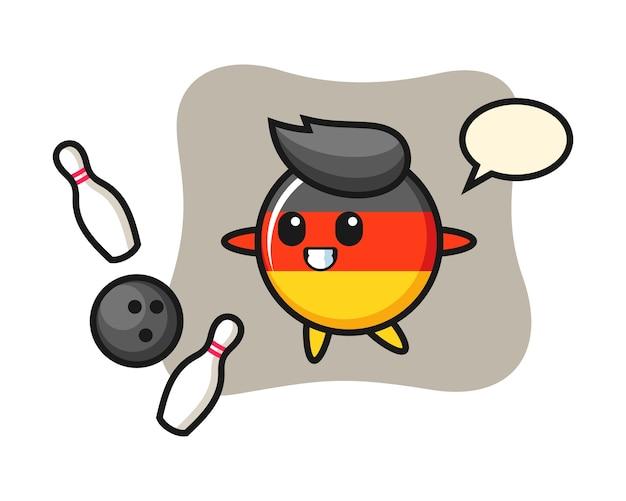 Personaggio dei cartoni animati del distintivo della bandiera della germania sta giocando a bowling