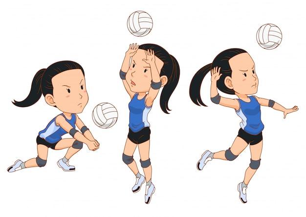 Personaggio dei cartoni animati del giocatore di pallavolo in diverse pose.