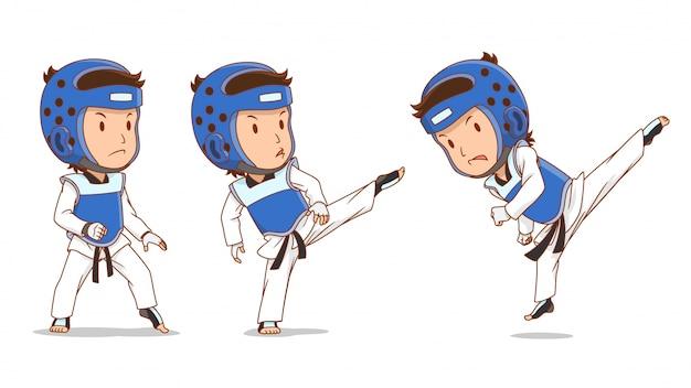 Personaggio dei cartoni animati del giocatore di taekwondo.