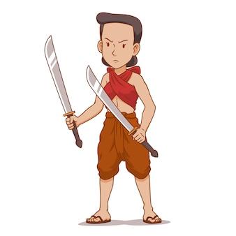 Personaggio dei cartoni animati del guerriero antico thai in possesso di doppi spade.