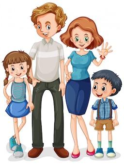 Personaggio dei cartoni animati del membro della famiglia su fondo bianco