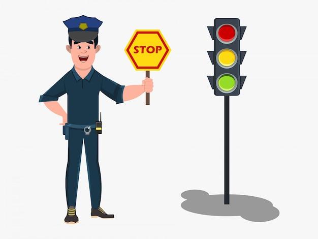 Personaggio dei cartoni animati del poliziotto che sta in un segnale stradale e che mostra il segnale stradale di arresto.