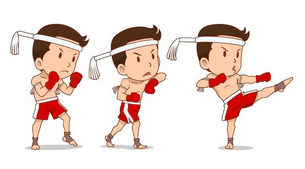 Personaggio dei cartoni animati del pugile muay thai carino.