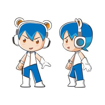 Personaggio dei cartoni animati del ragazzo di tecnologia dell'informazione.