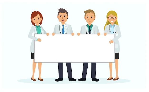Personaggio dei cartoni animati del team medico con cartello bianco. banner vuoto. tabellone. una squadra di medici con un grande cartellone.