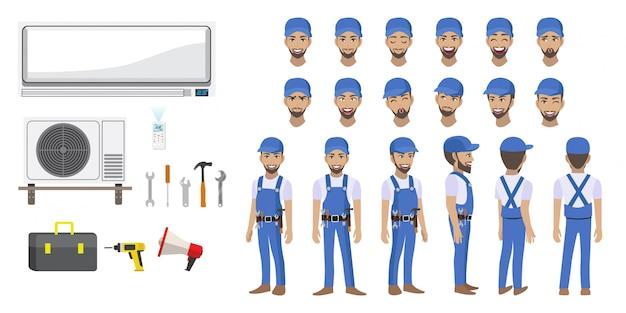 Personaggio dei cartoni animati del tecnico del condizionatore d'aria spaccato di riparazione del tecnico