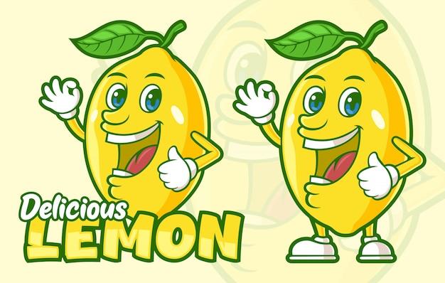 Personaggio dei cartoni animati delizioso frutto di limone