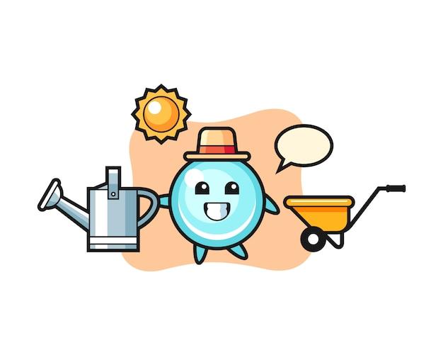 Personaggio dei cartoni animati dell'annaffiatoio della tenuta della bolla, progettazione sveglia di stile