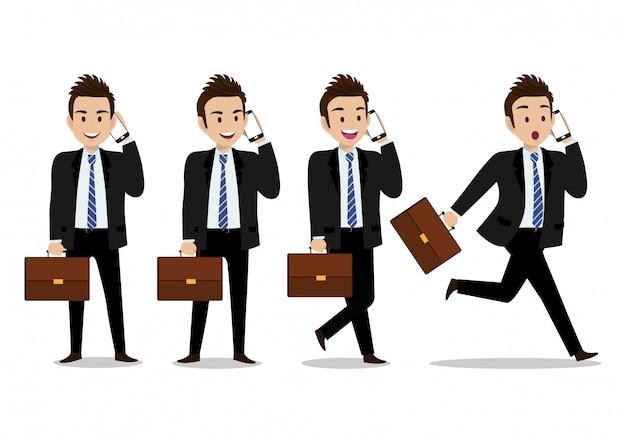 Personaggio dei cartoni animati dell'uomo d'affari, comunicazione dal telefono cellulare con emozione emozionante e un insieme di quattro pose